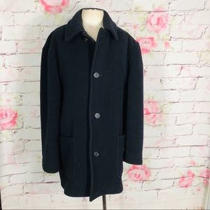 Brooks brothers navy long wool button front coat